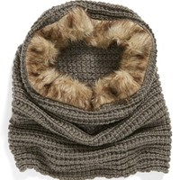 Faux Fur Trim Knit Snood