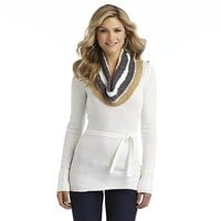 Allison Brittney Women's Cowl Neck Belted Sweater - Striped