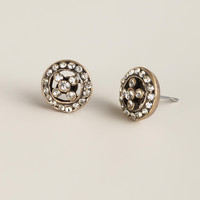 Black Diamond and Gold Round Stud Earrings