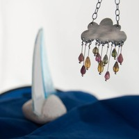Cumulonimbus Sterling Silver Oxidized Cloud Necklace With Tourmaline Gemstones Raindrops In Purple P | Luulla