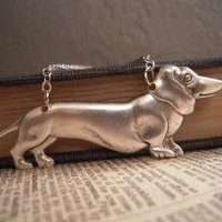 Wiener Dog Necklace Ox Silver by sissysstash on Etsy