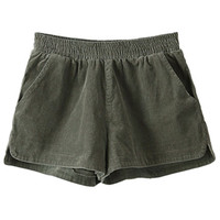 ROMWE | ROMWE Split Sides Stretchy Waist Green Shorts, The Latest Street Fashion