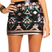 Navy/Gold/Green Sequin Mini Skirt