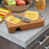 Buy Nibbled Beech Wood Cheese Board & Mouse Knife