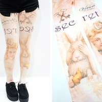 Alice's Secret Rabbit Japanese Kawaii Printed Tights