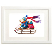 Bears Christmas Watercolor Illustration Print Sledging Winter Love