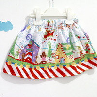 Christmas Skirt - Toddler Christmas skirt - santa village print