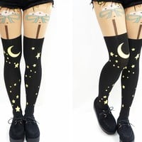 Night Moon Stars Pastel Goth Kawaii Thigh High Tights