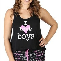 Plus Size Pajamas Set with I Love Boys Print