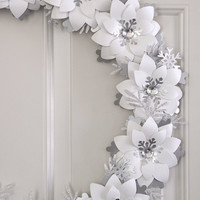 """Jack Frost Paper Flower Wreath Snow White Winter Wreath Silver Holiday Decor 18"""""""