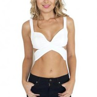 White Crop Top with Cross Over Front & Cutout Back