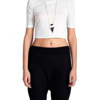 SImple Tee Shirt Crop Top - Cream