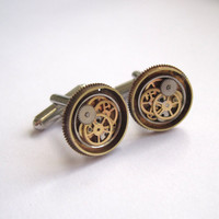 "Steampunk Cufflinks ""Model Thirty-Three"" Mancessories Soldered Clockwork Watch Gear Cuff Links Silver Tone Industrial OOAK A Mechanical Mind"