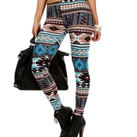 Blue/Multi Mixed Tribal Printed Leggings