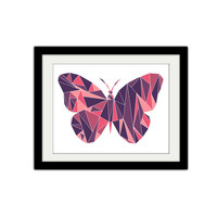 "Abstract Geometric Butterfly Poster. Triangles. Simple, modern, minimal. Pink and Purple. 8.5x11"" Print."