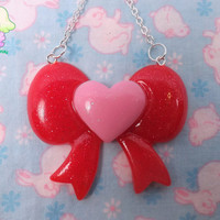 Kawaii Fairy Kei Heart Bow Necklace - Pink and Red