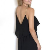 Black Ruffled Chiffon Dress with Coiled Shoulder Straps