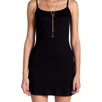 Simple Spaghetti Strap Slip Dress - Black