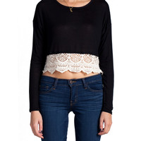 Crochet Cropped Long Sleeve Top
