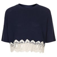 Knitted Lace Hem Crop Jumper