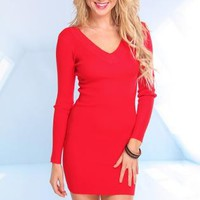 Red Long Sleeve Knit Dress with V-Neckline
