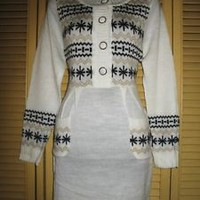 HESSI KNITTED JUNIORS TOP/DRESSES W SNOWFLAKES !SIZE S-L! BEIGE/WHITE ! NWT !