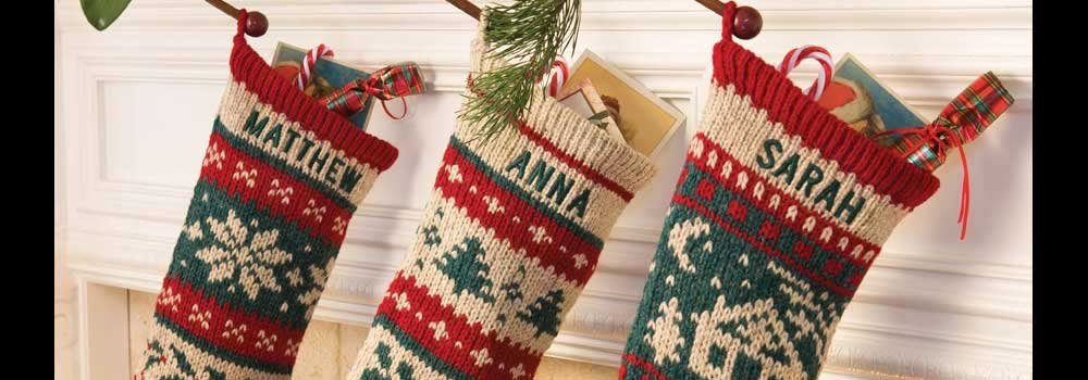 Knitting Pattern For Christmas Stocking Personalized : Personalized Christmas Stockings, Knitted from annieswoolens.com