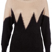 Beige/Black Two Tone Mohair Jumper | Desire | Knitwear