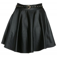 Ashley Tisdale Wet Look Pleather Skater Skirt