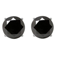 0.56 Carat Natural AAA Black Diamond Round Stud Earrings 14Kt White Gold
