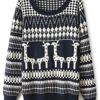 ROMWE | ROMWE Giraffes & Geometric Knitted Navy-blue Jumper, The Latest Street Fashion