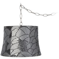"Gray Sequins 12"" Wide Brushed Steel Plug-In Chandelier - #Y3900-X0058 