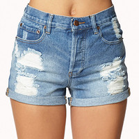 Vintage-Inspired Distressed Denim Shorts