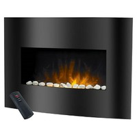 Arched Glass Electric Fireplace - Black