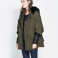 FAUX LEATHER COMBINATION PARKA