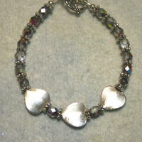 Bracelet, Brushed Silver Plated Heart Beads, Czech Half Clear, Half Metallic Beads, Handmade, Jewelry