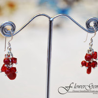 Drop Silver Earring Red Jasper Gem Stone with Swarovski Crystal Bead Handmade by Flower GemStone