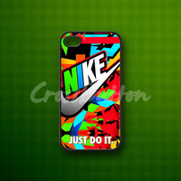 Nike Just Do It Full Color - Rubber or Plastic Print Custom - iPhone 4/4s, 5 - Samsung S3 i9300, S4 i9500 - iPod 4, 5