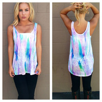 Blue & Lilac Watercolor Tank
