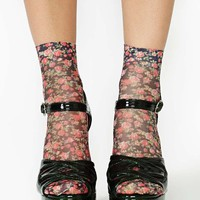 Rosebud Ankle Socks - Black