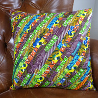 Ghanaian Print Decorative Throw Pillow Cover 18 x 18 - Authentic Patchwork Wax Print