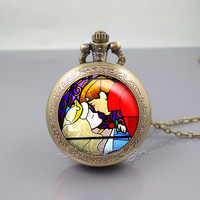 Sleeping Beauty Kiss Pocket Watch Locket Necklace,Stained Glass Sleeping Beauty Kiss,vintage pendant Pocket Watch Locket Necklace