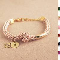 Initial bracelet with anchor charm, Personalized bracelet with hand stamped initial, anchor bracelet