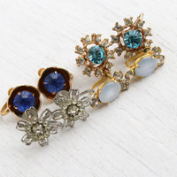 Vintage Clip On Earring Lot - 4 Pairs Gold & Silver Tone 1950s Rhinestone Screw Back Costume Jewelry / Blue, Clear Glass Stones
