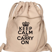 Keep Calm Carry On Backpack Tan Book Bag