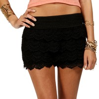 Black Pull On Crochet Shorts