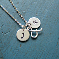 Silver Initial Necklace Personalized Jewelry Couples Necklace Lovers Necklace Ampersand Necklace Girlfriend gift