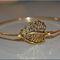 Gold Leaf Bangle, Leaf Bangle bracelet, Autumn Leaf Jewelry, Nature Jewelry, Gold Leaf Jewelry, stacking bangle, stacking bracelet