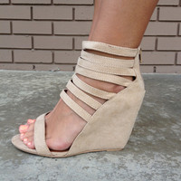 Taupe Strappy Suede-like Wedges
