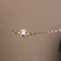 Tiny glass - clear crystal minimalist necklace choker - delicate gold chain - minimal modern jewelry by fildee